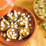 marokkansk inspireret tagine med couscous med grillet squash og mandler