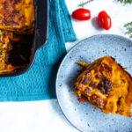 Lækker vegetar lasagne med cremetostesauce og spinat