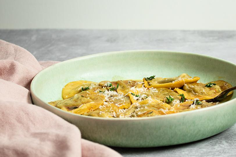 Ravioli med lækkert fyld af svampe og ost