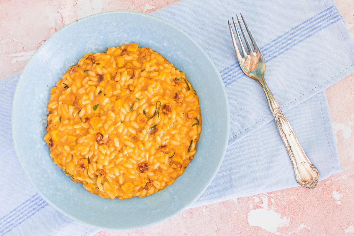 Lækker risotto med majs og grillede majs
