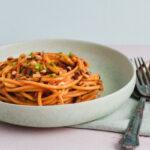 lækker vegetarisk pasta med grillet peberfrugt